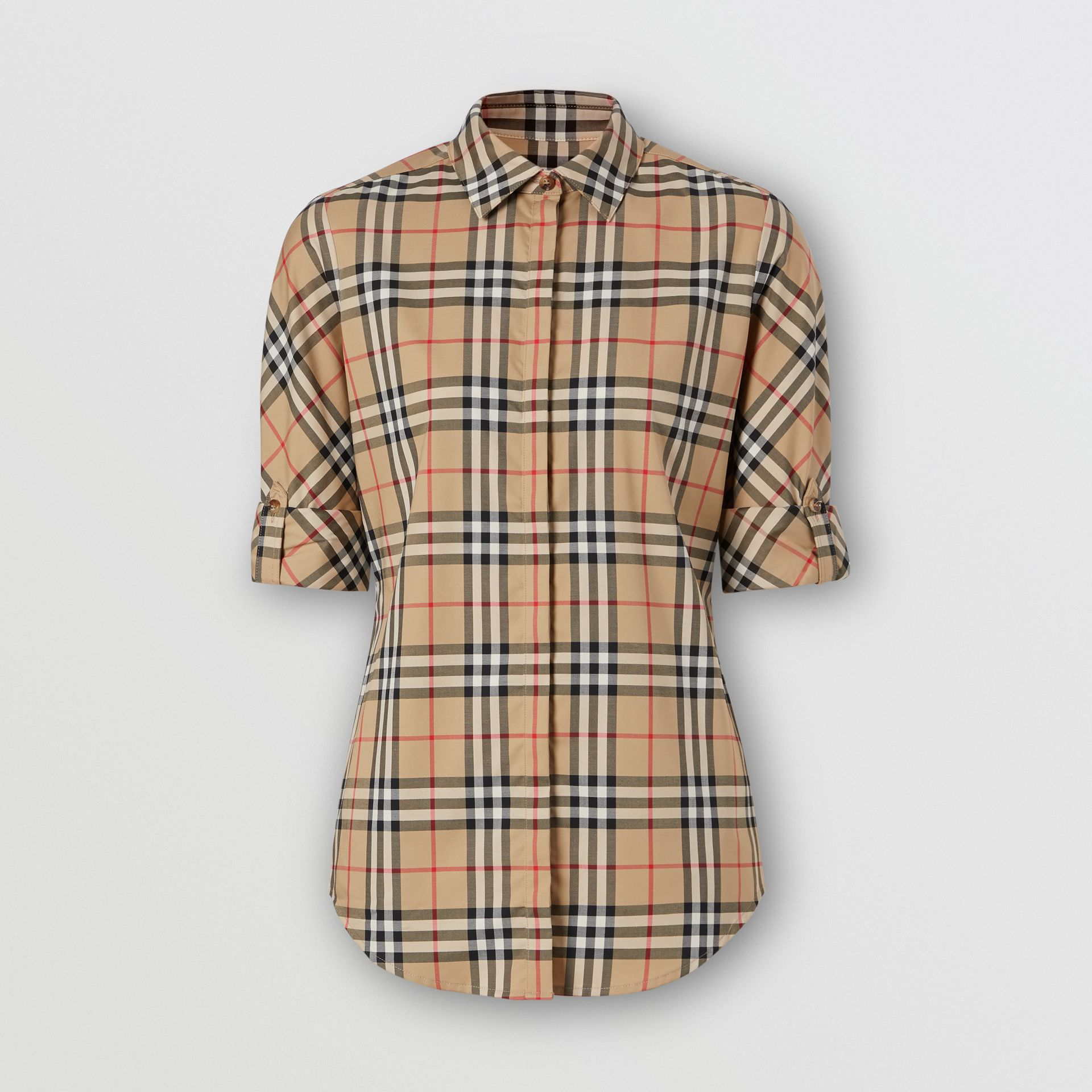 Vintage Check Stretch Cotton Twill Shirt in Archive Beige - Women | Burberry - gallery image 3