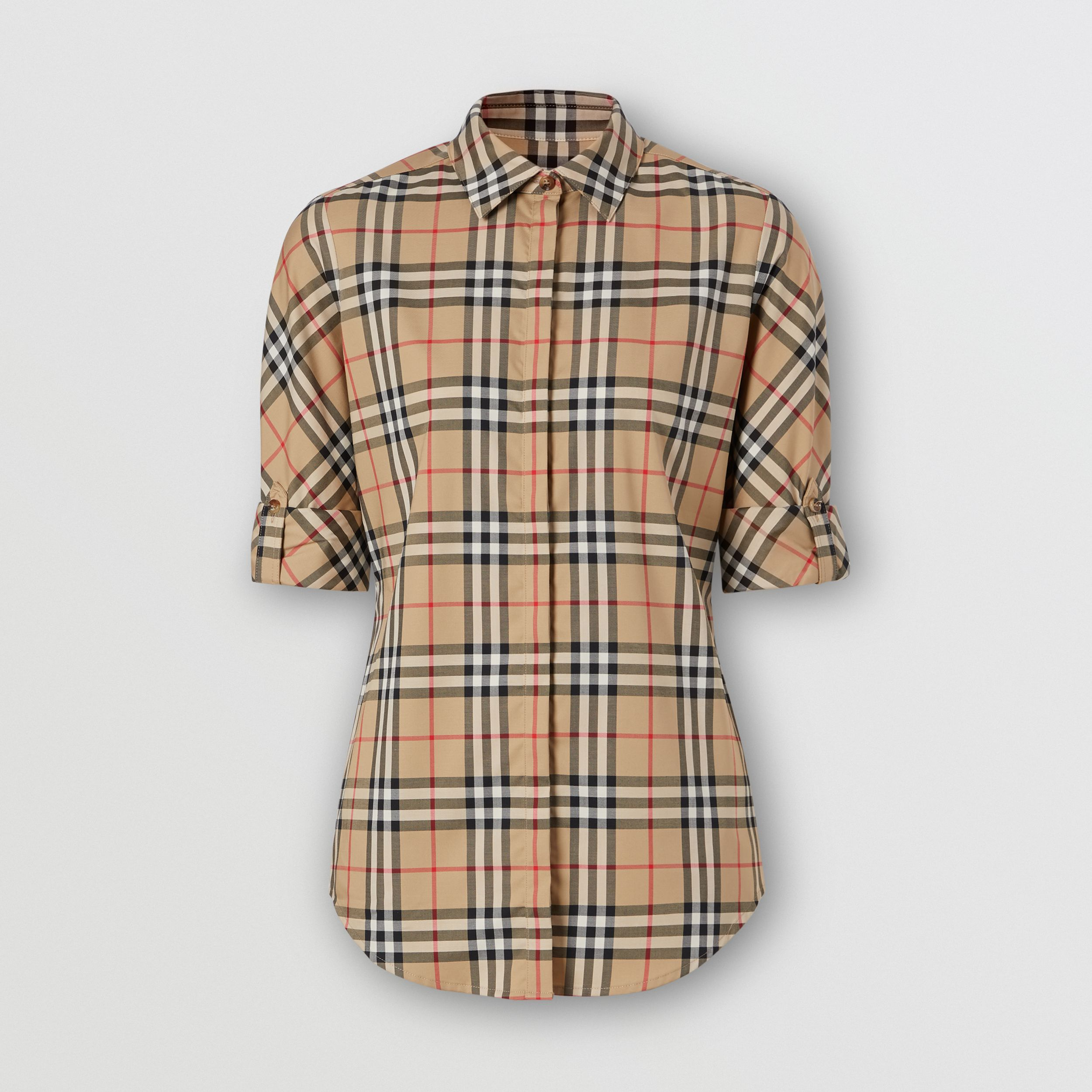 Vintage Check Stretch Cotton Twill Shirt in Archive Beige - Women | Burberry United Kingdom - 4