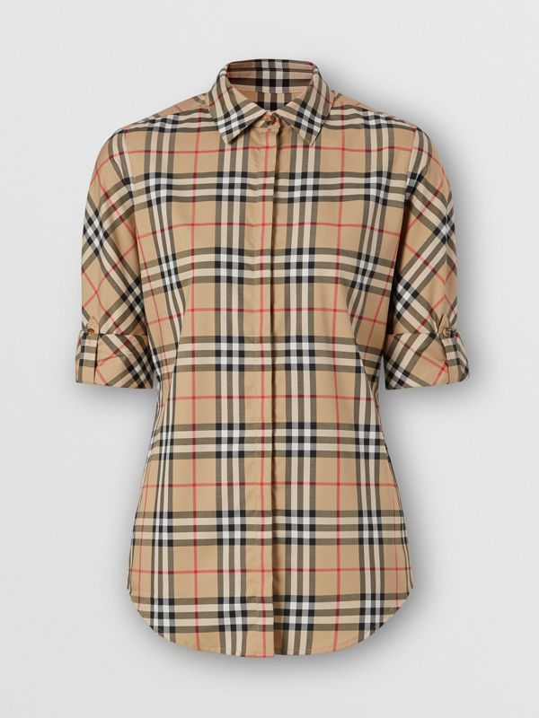 Vintage Check Stretch Cotton Twill Shirt in Archive Beige - Women | Burberry - cell image 3