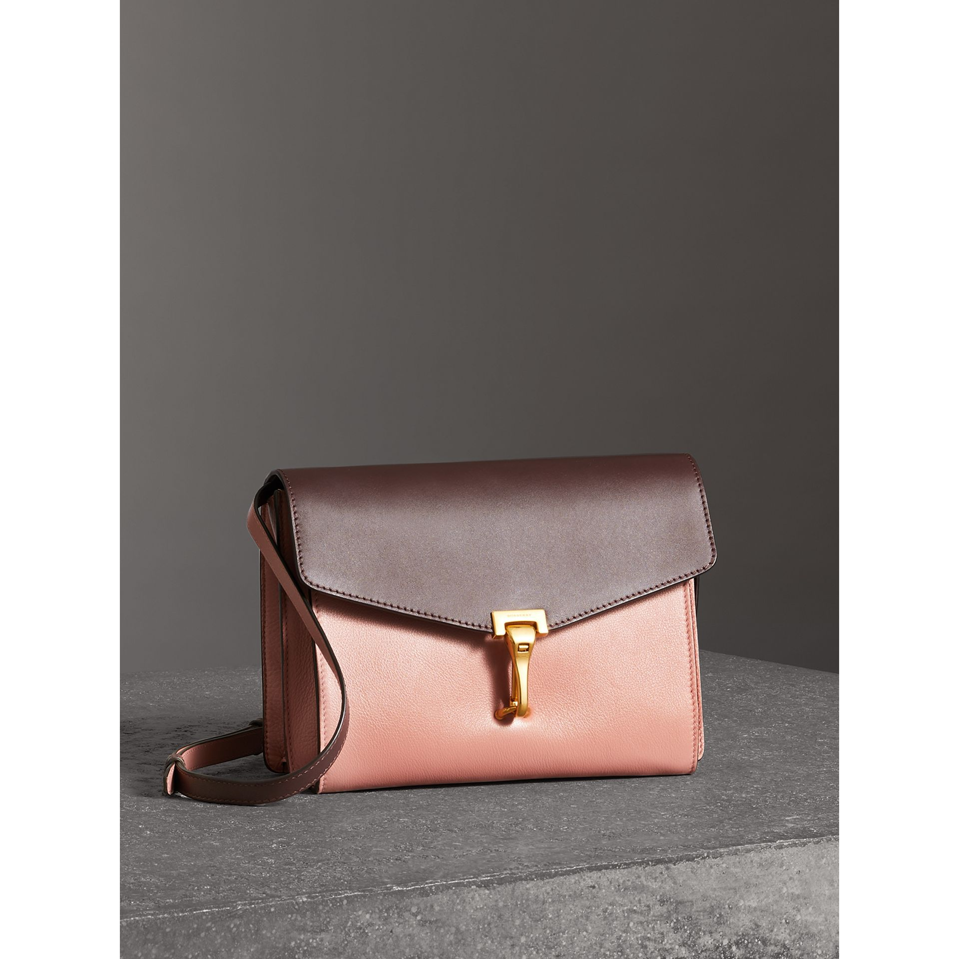 Two-tone Leather Crossbody Bag in Dusty Rose/deep Claret - Women | Burberry Australia - gallery image 4