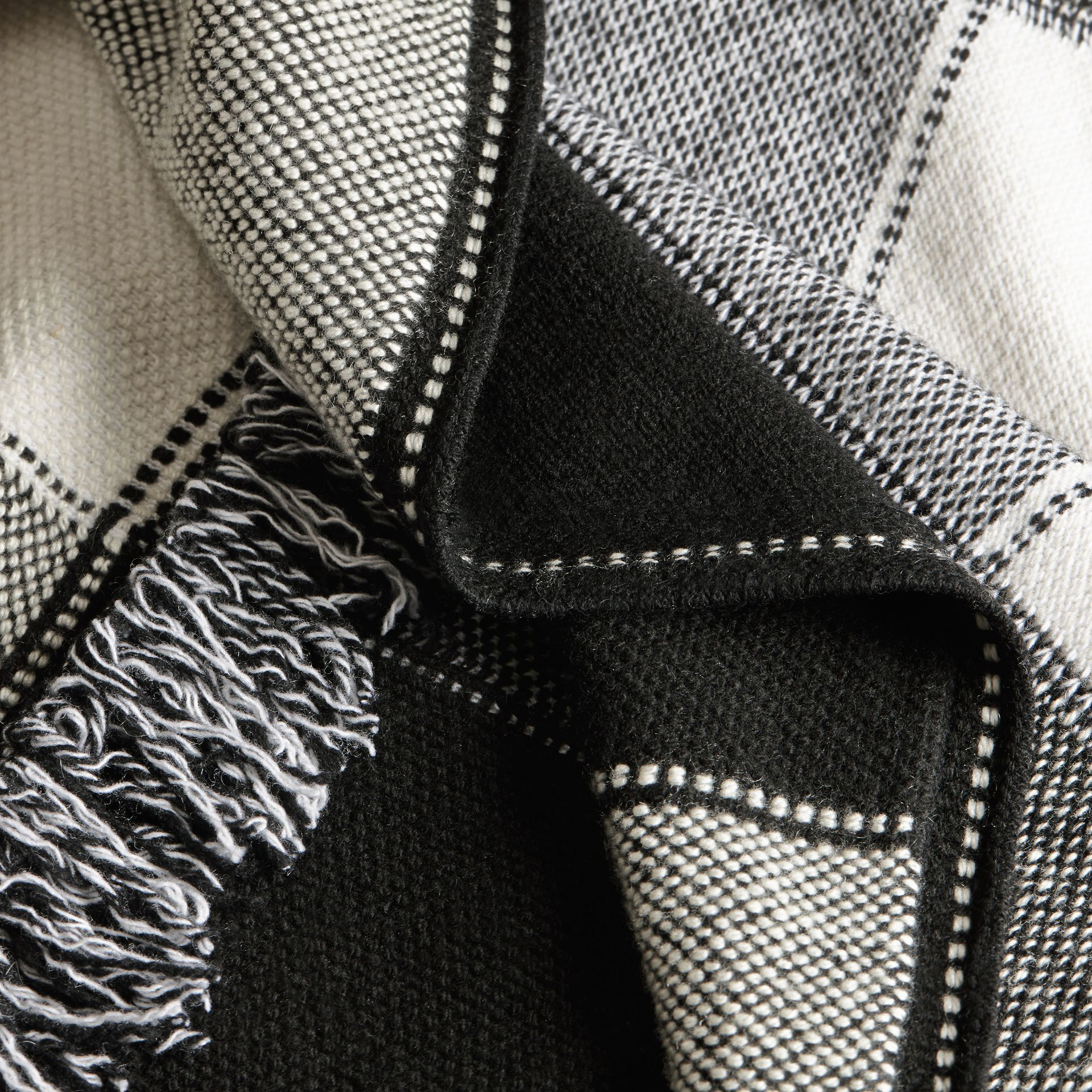 Black/white Check Wool Cashmere Knit Coat - gallery image 2
