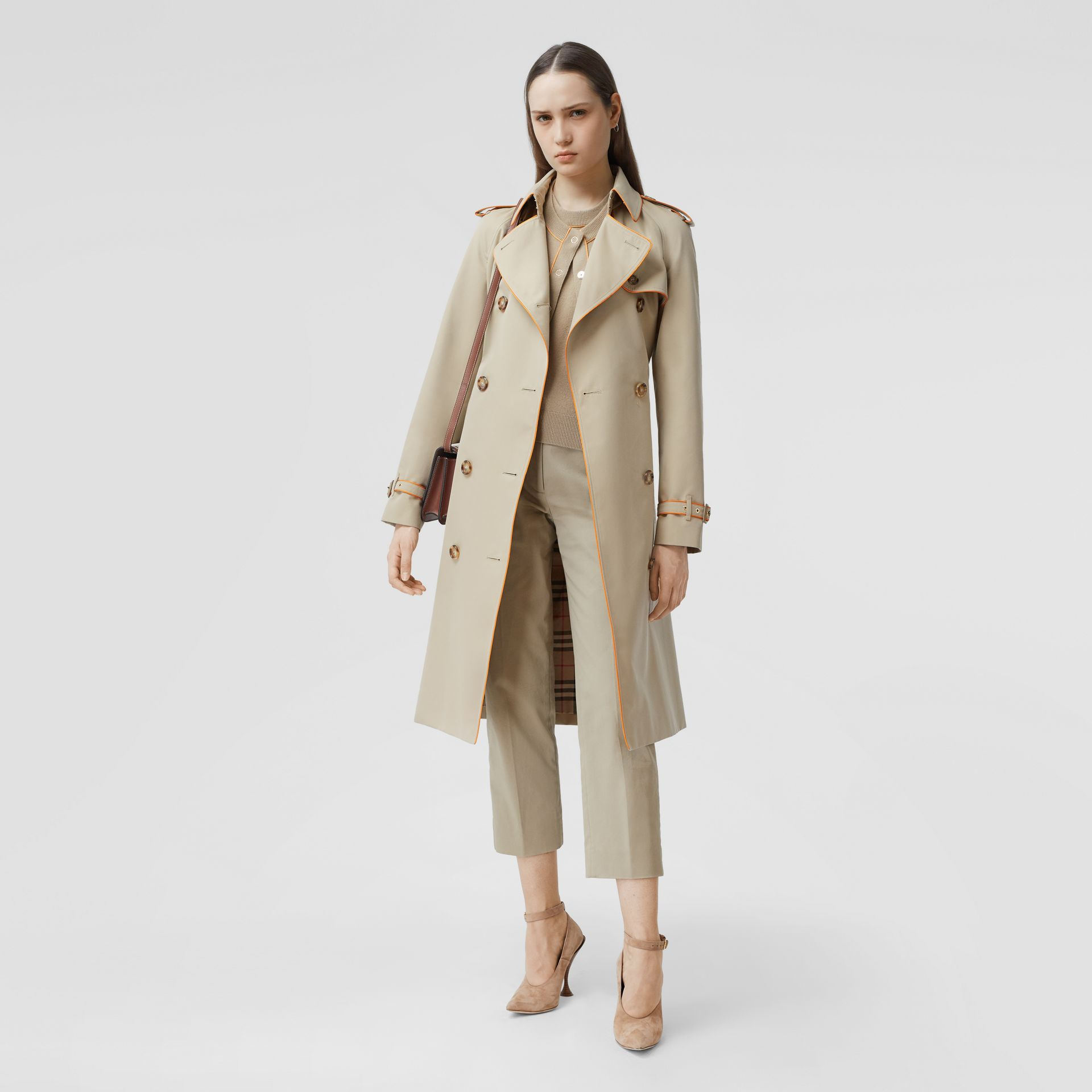 Piped Cotton Gabardine Trench Coat in Honey - Women | Burberry - gallery image 6