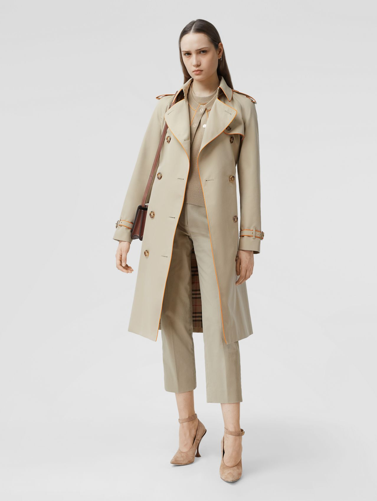 Piped Cotton Gabardine Trench Coat in Honey