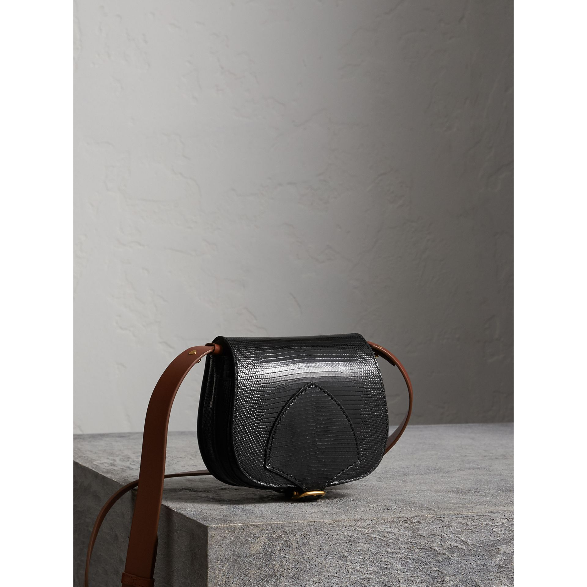 The Satchel in Lizard in Black - Women | Burberry United Kingdom - gallery image 7