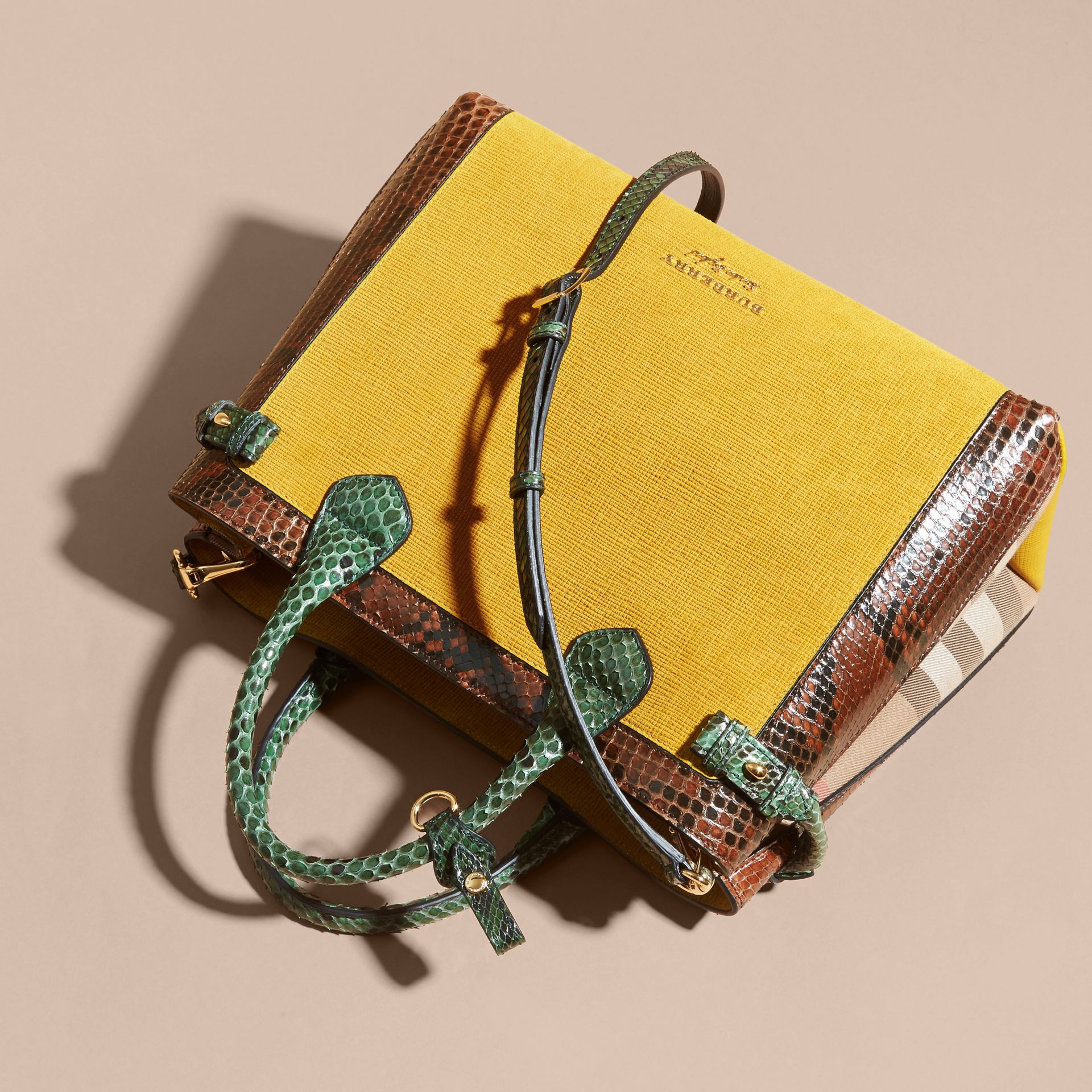 The Medium Banner in Leather, Python and House Check in Larch Yellow - Women | Burberry - gallery image 8