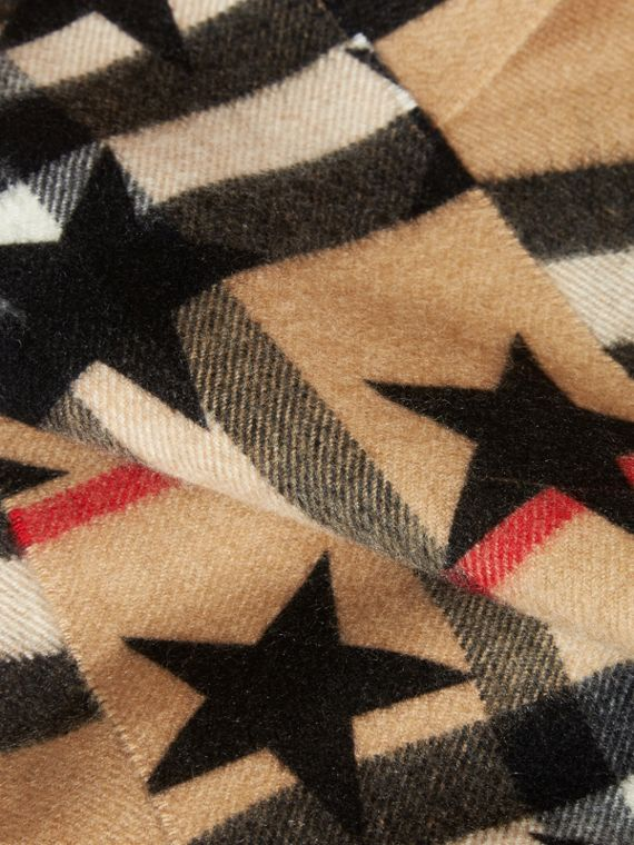 The Mini Classic Cashmere Scarf in Check with Star Print in Black | Burberry - cell image 2
