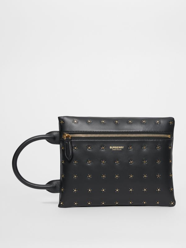 Studded Leather Portrait Pouch in Black | Burberry - cell image 3