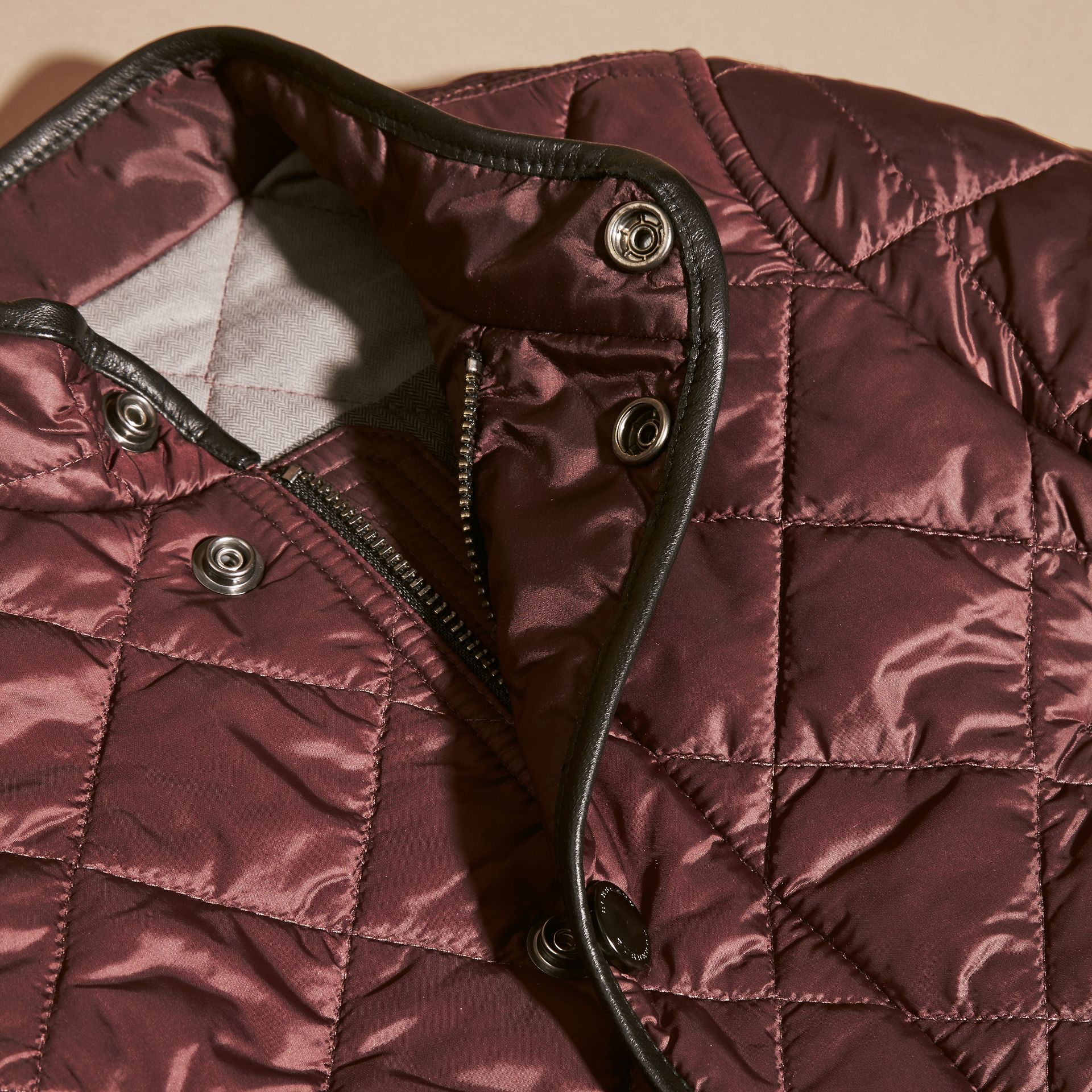 Deep burgundy Leather Trim Lightweight Quilted Bomber Jacket - gallery image 2
