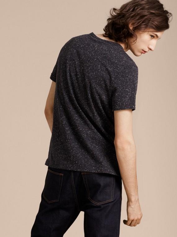 Black Crew Neck Flecked Cotton Jersey T-Shirt Black - cell image 2
