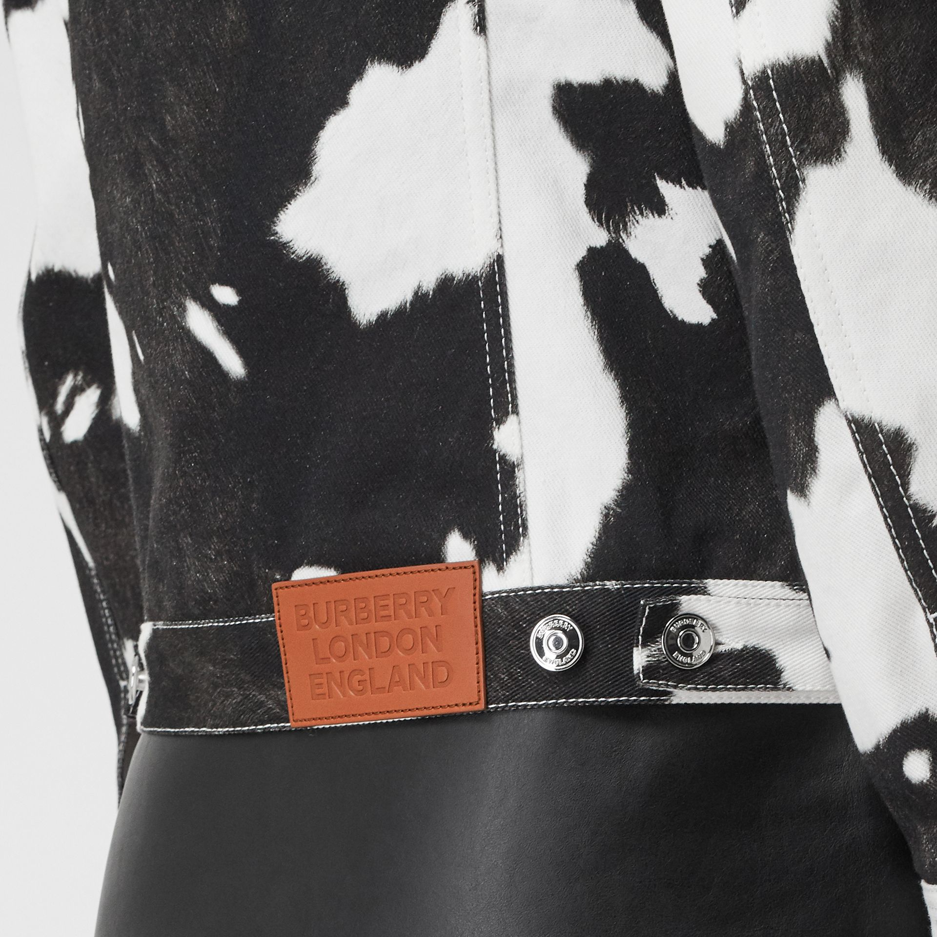 Cow Print Denim Jacket in Black - Women | Burberry Hong Kong S.A.R - gallery image 4