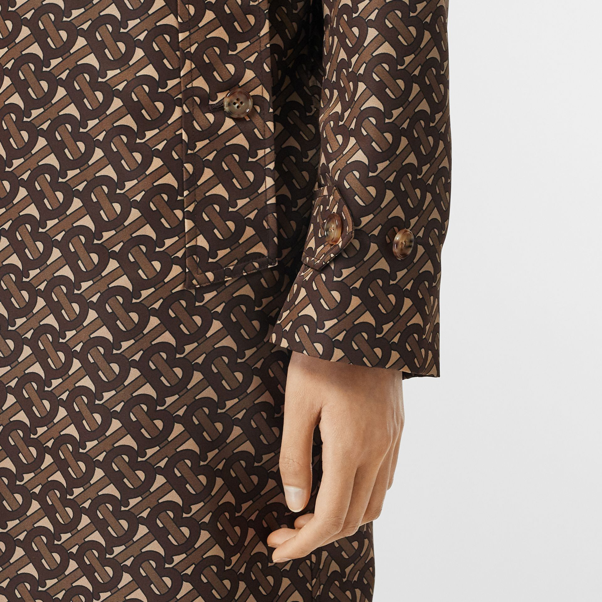 Monogram Stripe Print Nylon Car Coat in Bridle Brown - Women | Burberry - gallery image 4