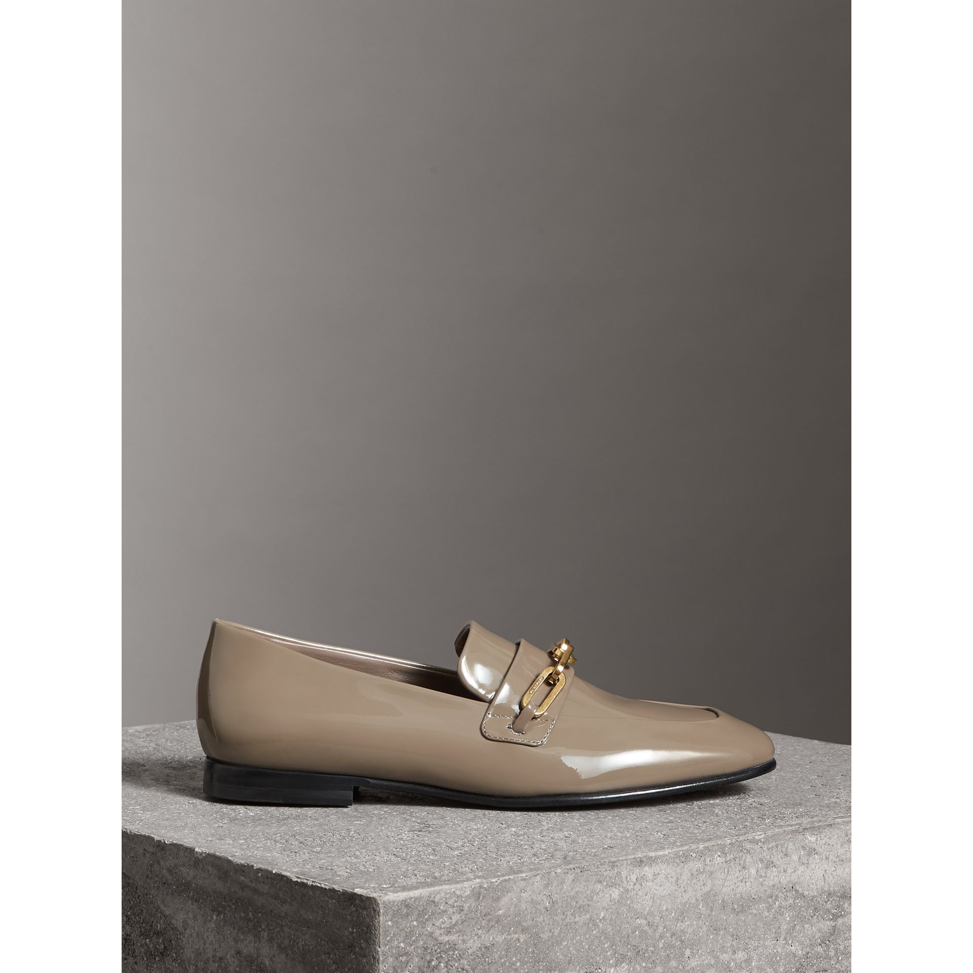 Link Detail Patent Leather Loafers in Taupe Grey - Women | Burberry - gallery image 4