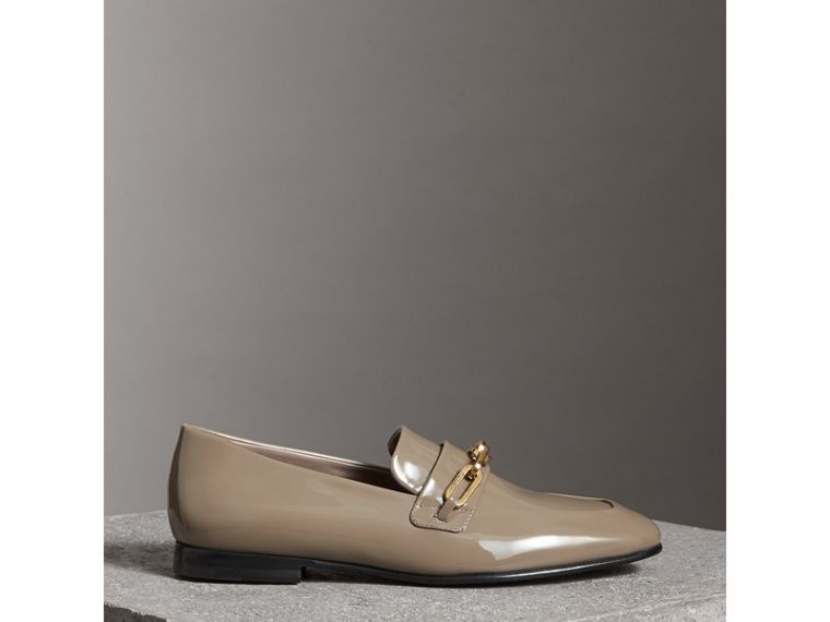 Link Detail Patent Leather Loafers in Taupe Grey - Women | Burberry - cell image 4