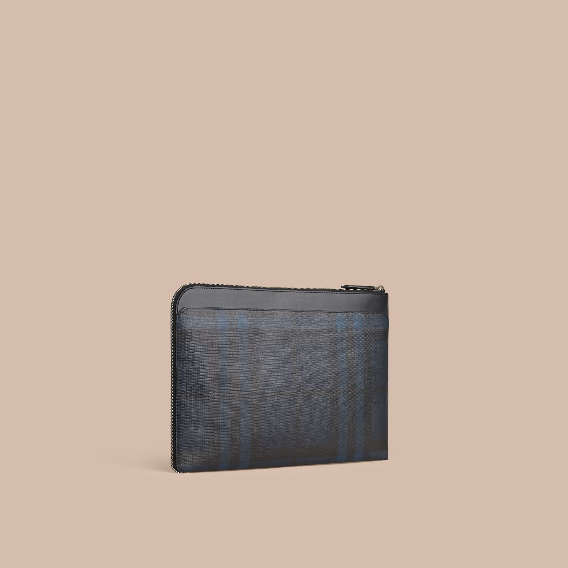 London Check Document Case in Navy/black - gallery image 1