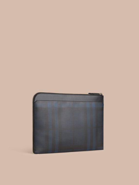 London Check Document Case Navy/black