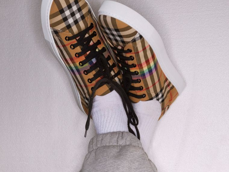 Rainbow Vintage Check Sneakers in Antique Yellow | Burberry - cell image 4