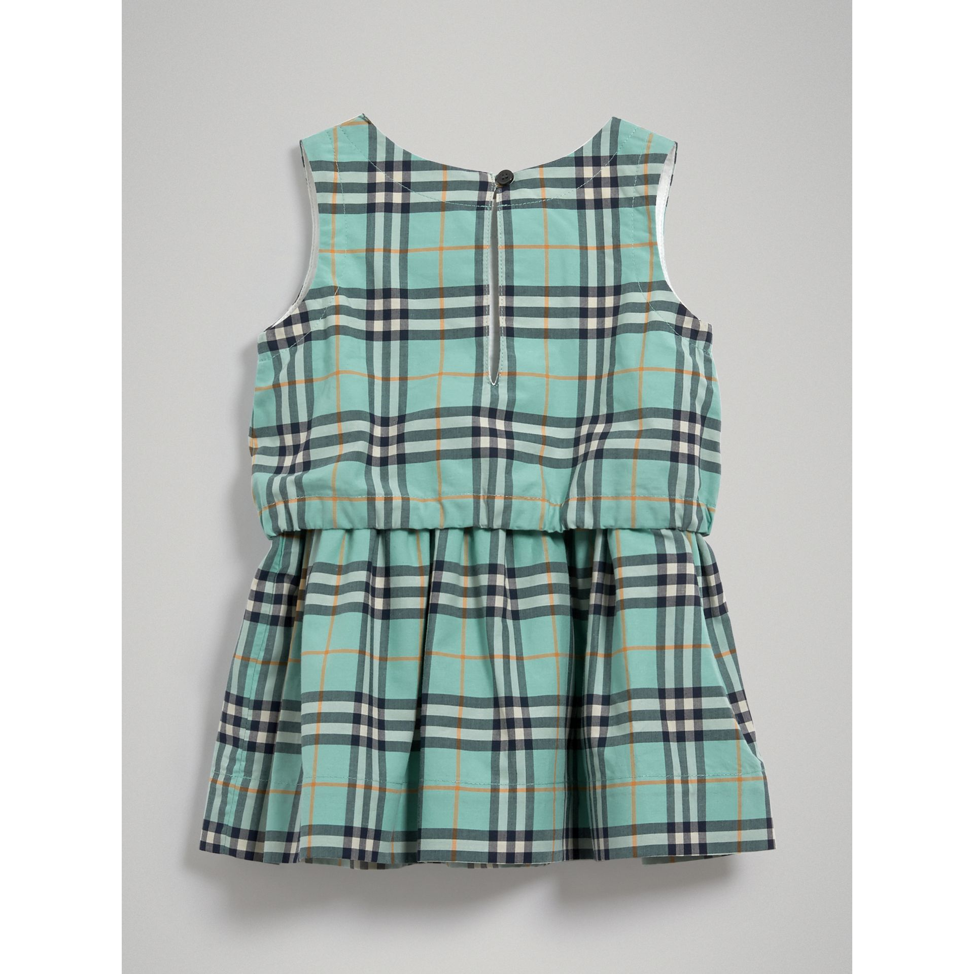 Gathered Check Cotton Dress in Bright Aqua | Burberry - gallery image 3
