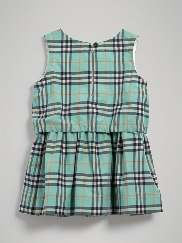 Gathered Check Cotton Dress in Bright Aqua - Children | Burberry - cell image 3