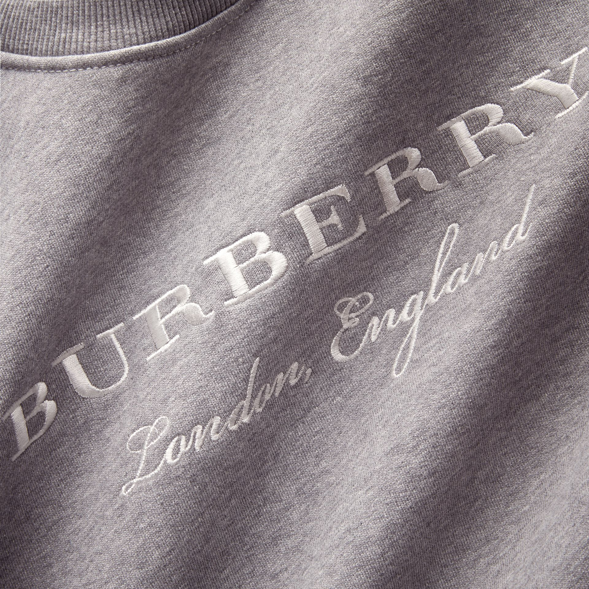 Embroidered Cotton Blend Jersey Sweatshirt in Pale Grey Melange - Women | Burberry - gallery image 2