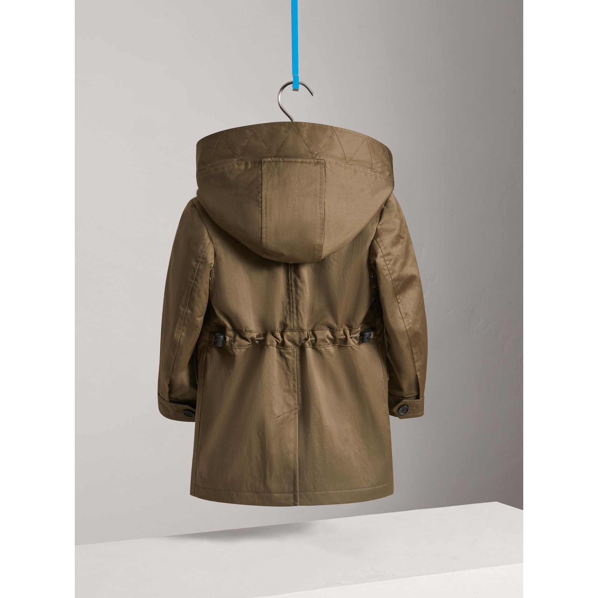 Detachable Hood Cotton Blend Trench Coat in Dark Olive | Burberry - gallery image 3