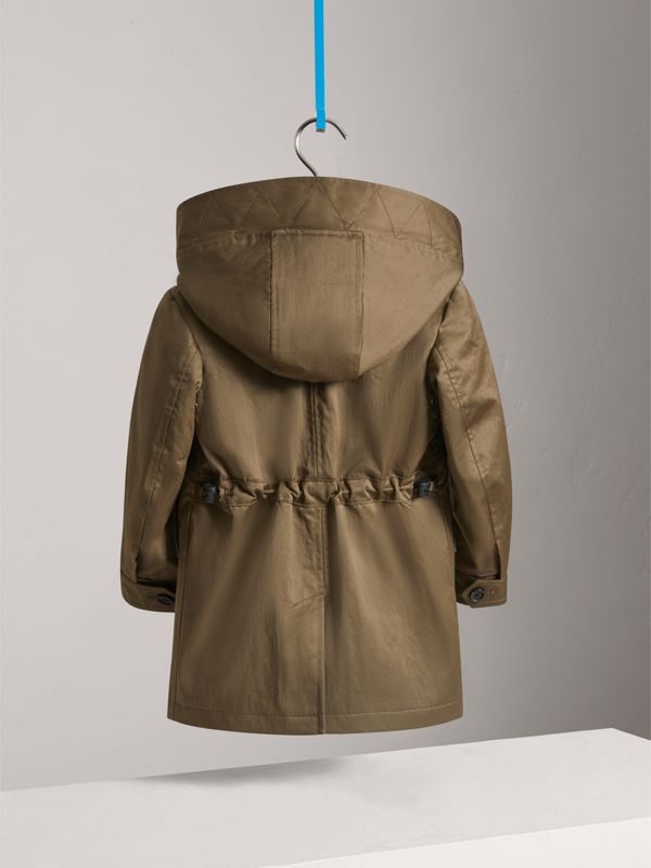 Detachable Hood Cotton Blend Trench Coat in Dark Olive | Burberry - cell image 3