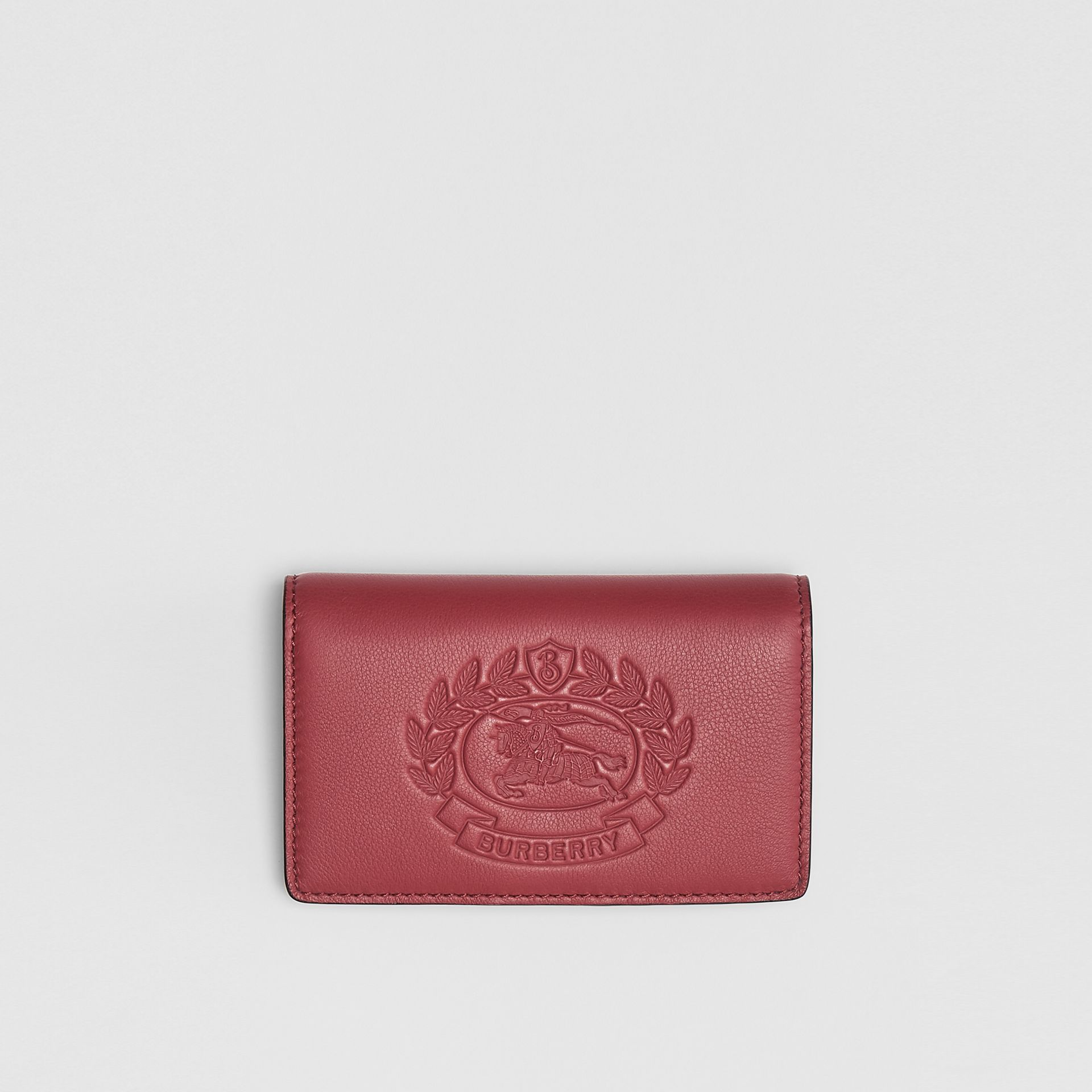 Small Embossed Crest Two-tone Leather Wallet in Crimson - Women | Burberry Australia - gallery image 0