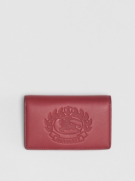 Small Embossed Crest Two-tone Leather Wallet in Crimson