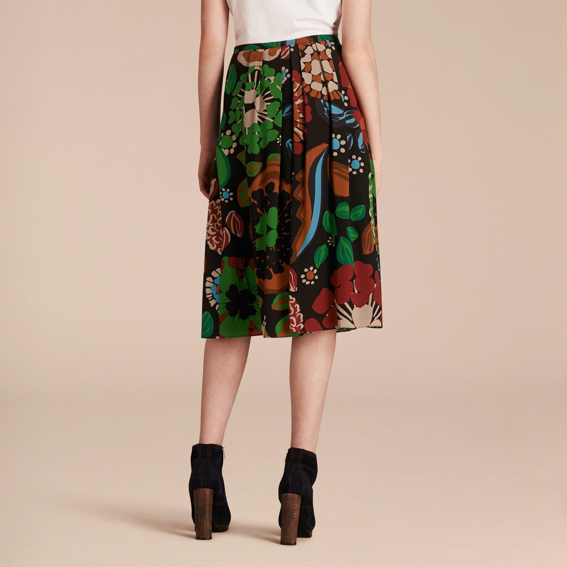 Deep navy Floral Print Silk Crepe De Chine Skirt - gallery image 3