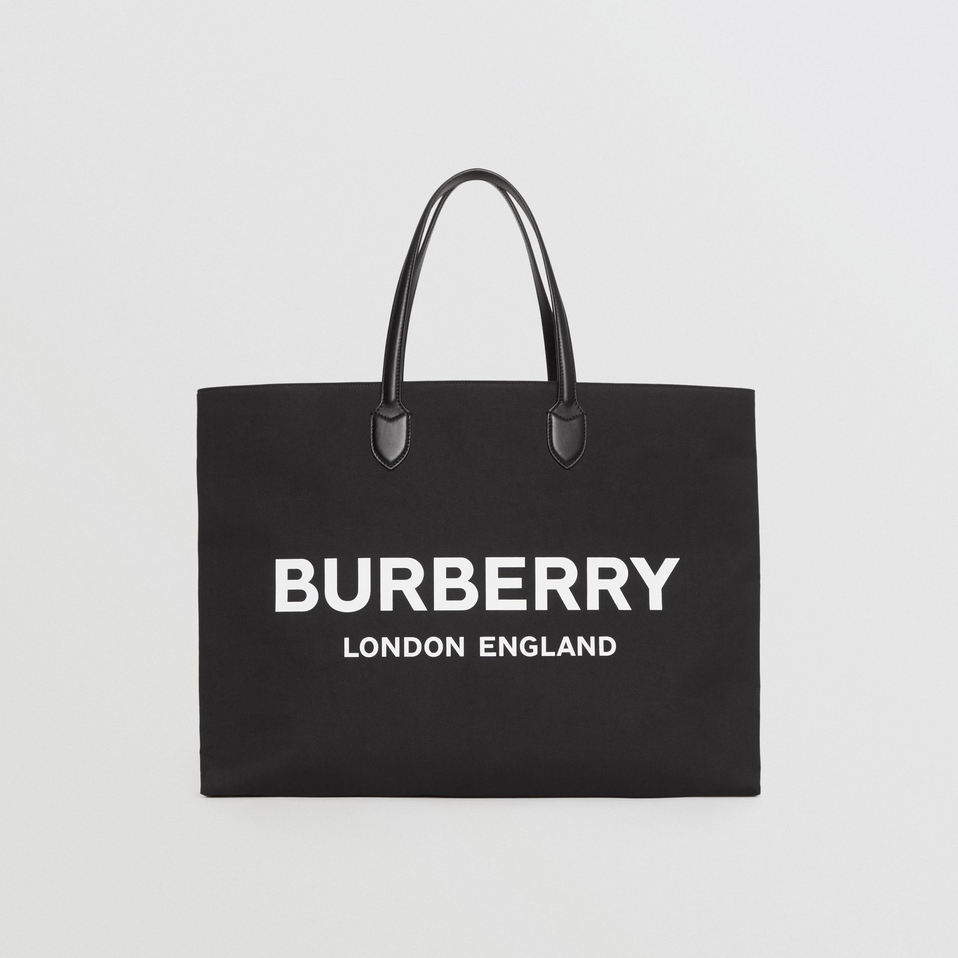Logo Detail Cotton Blend Tote in Black | Burberry United Kingdom - gallery image 0