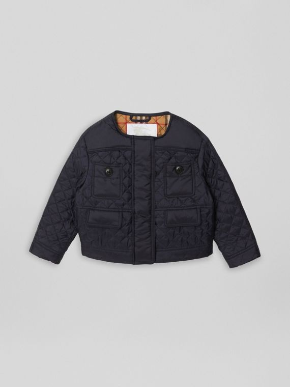 Lightweight Diamond Quilted Jacket in Navy