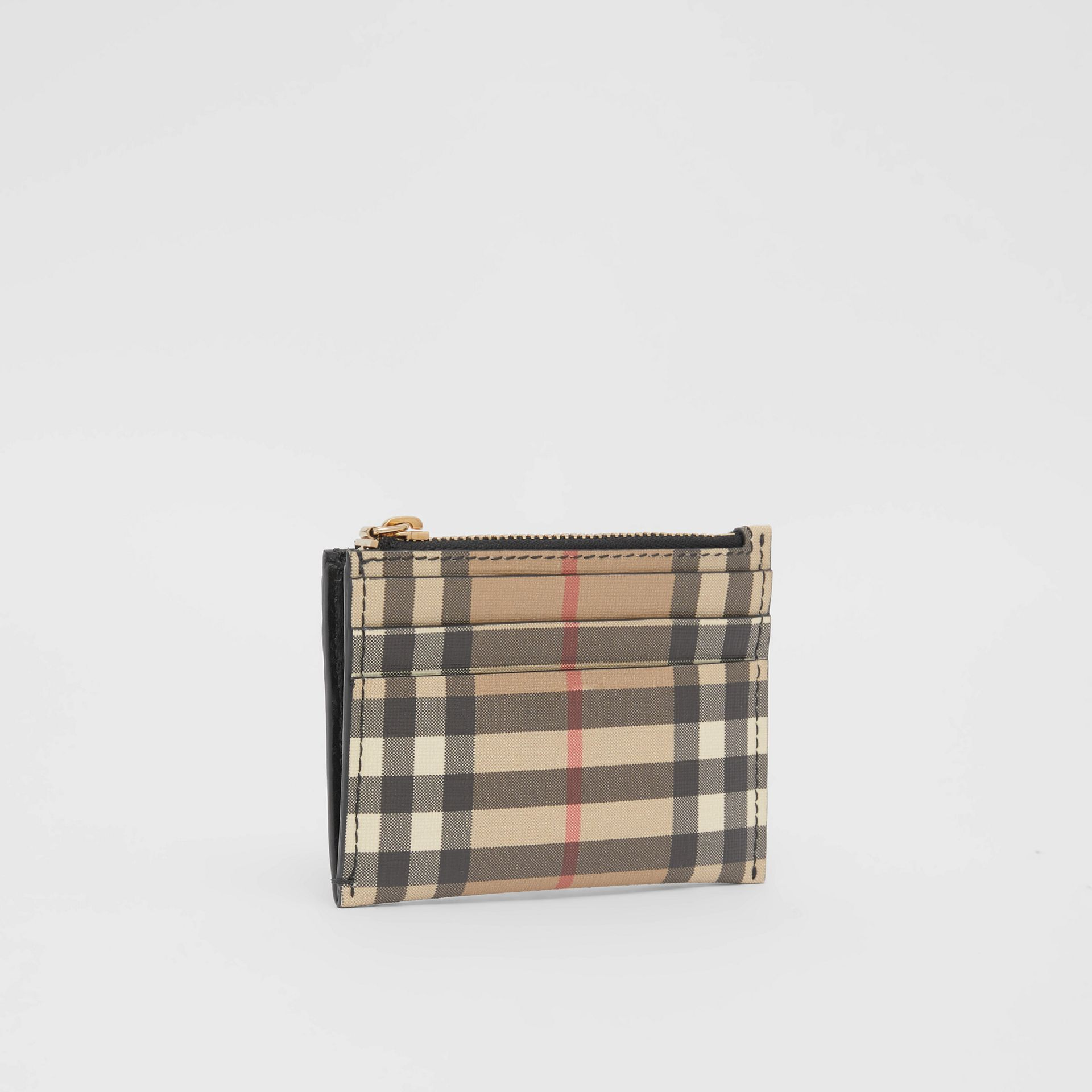 Vintage Check and Leather Zip Card Case in Black - Women | Burberry - gallery image 2