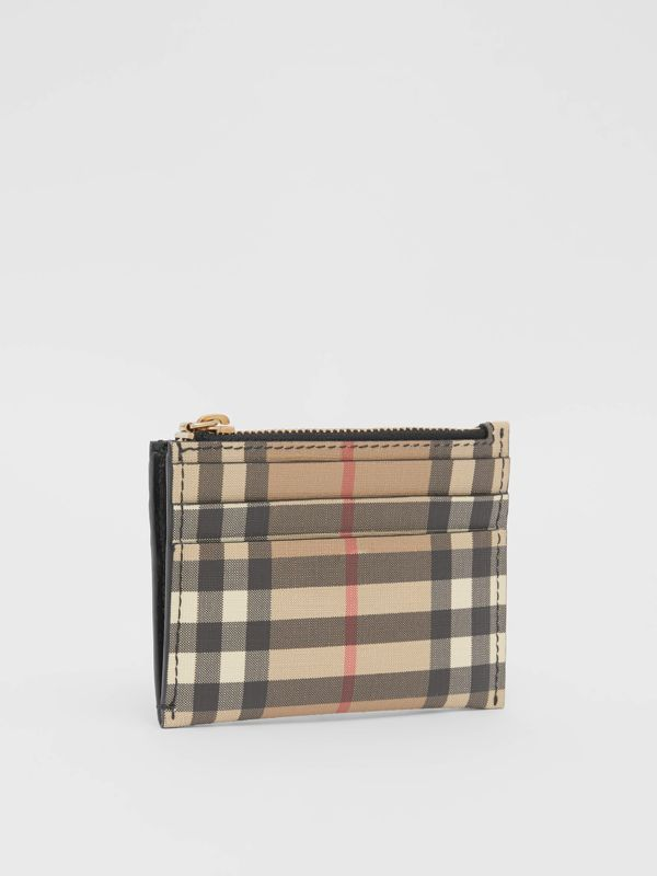 Vintage Check and Leather Zip Card Case in Black - Women | Burberry - cell image 2
