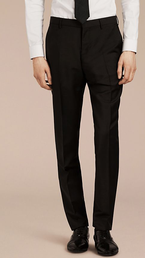 Black Modern Fit Wool Mohair Trousers Black - Image 1