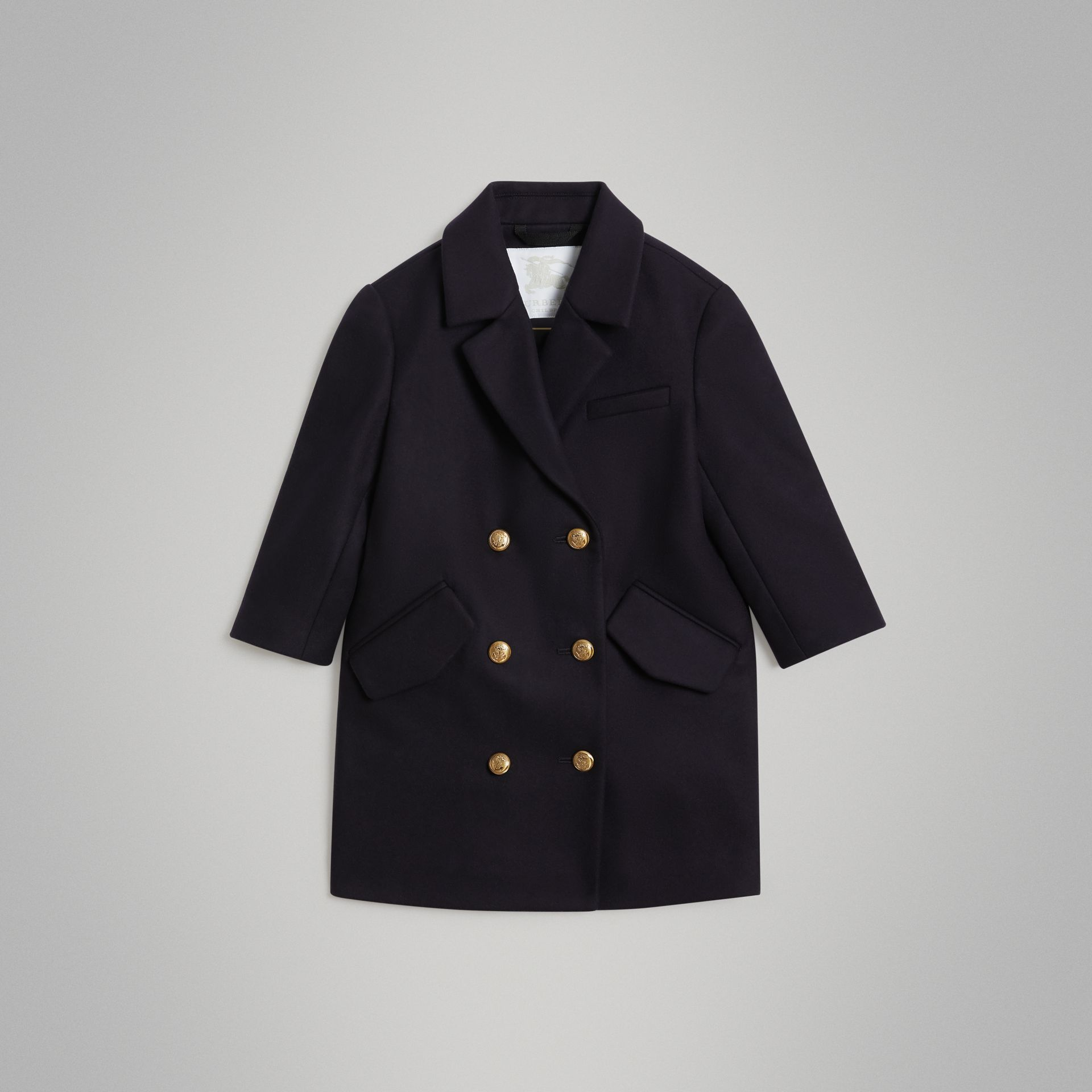 Crested Button Wool Pea Coat in Navy | Burberry Singapore - gallery image 0