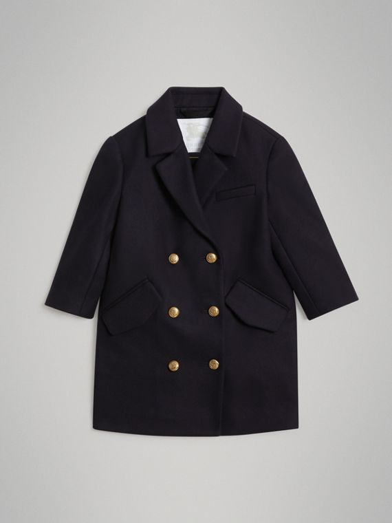 Pea coat in lana con bottoni decorati (Navy)