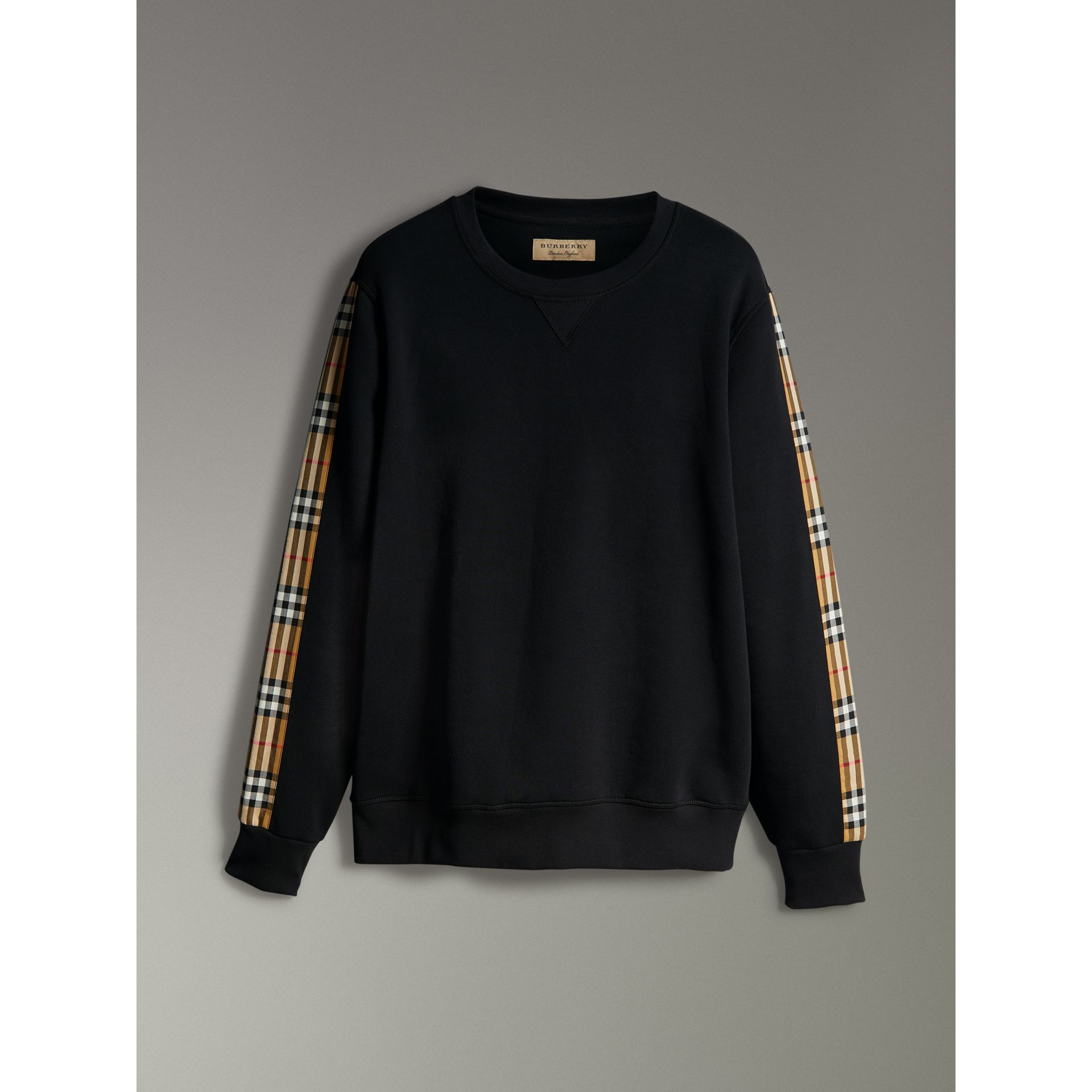 Vintage Check Detail Cotton Blend Sweatshirt in Black - Men | Burberry - gallery image 3