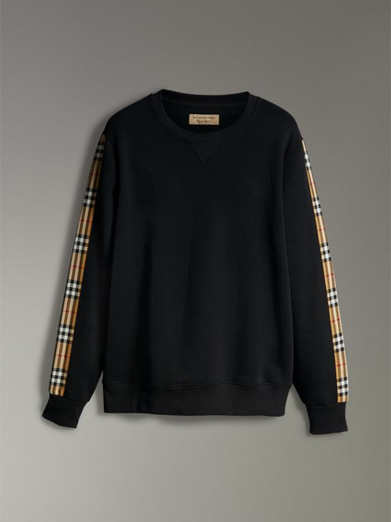 Vintage Check Detail Cotton Blend Sweatshirt in Black - Men | Burberry Singapore - cell image 3