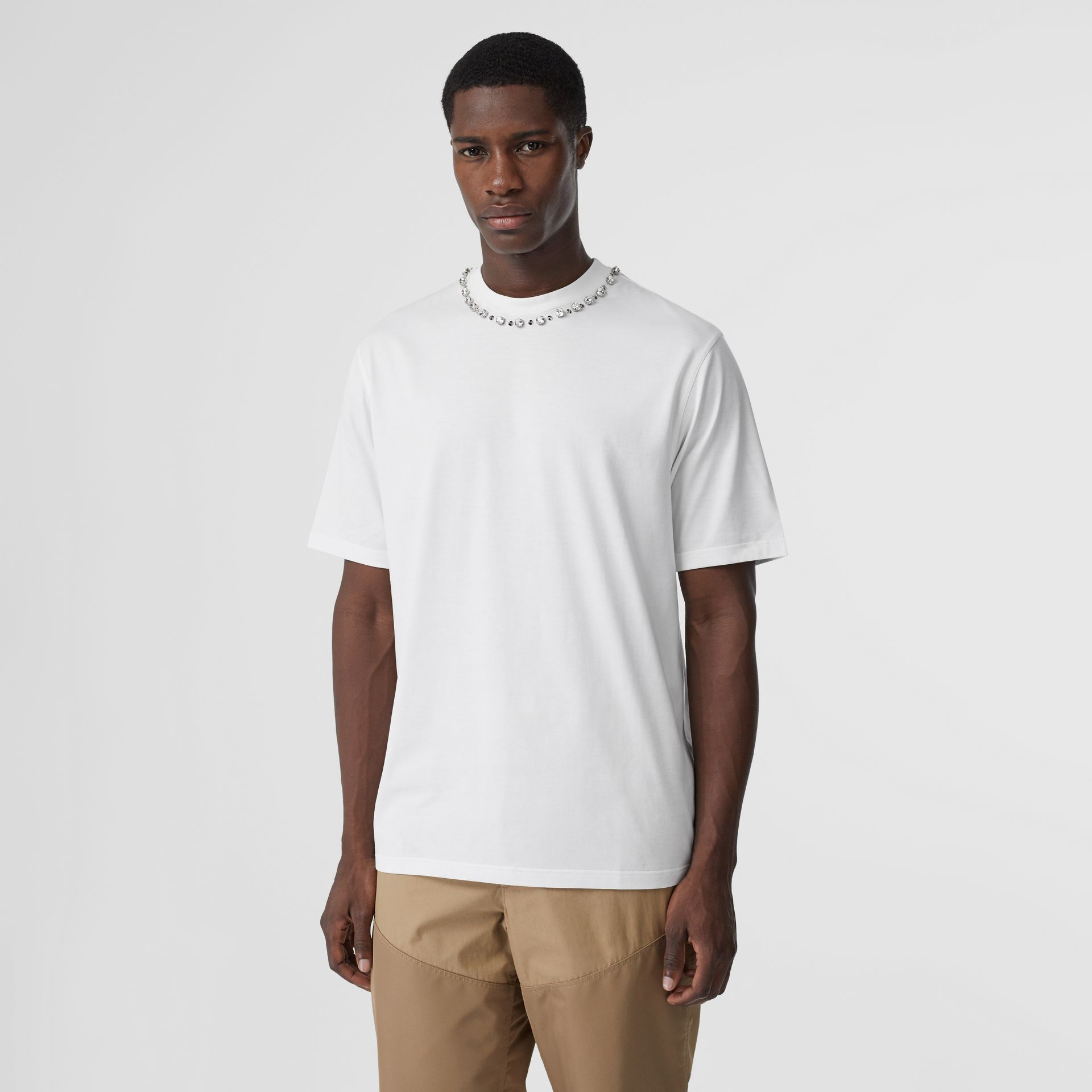 Embellished Cotton Oversized T-shirt in White - Men | Burberry Canada - gallery image 2