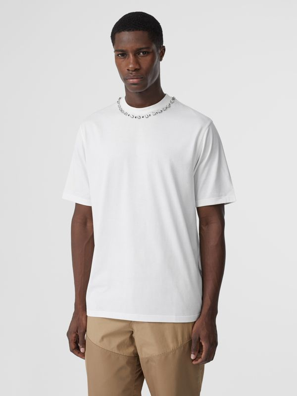 Embellished Cotton Oversized T-shirt in White - Men | Burberry Hong Kong S.A.R - cell image 2