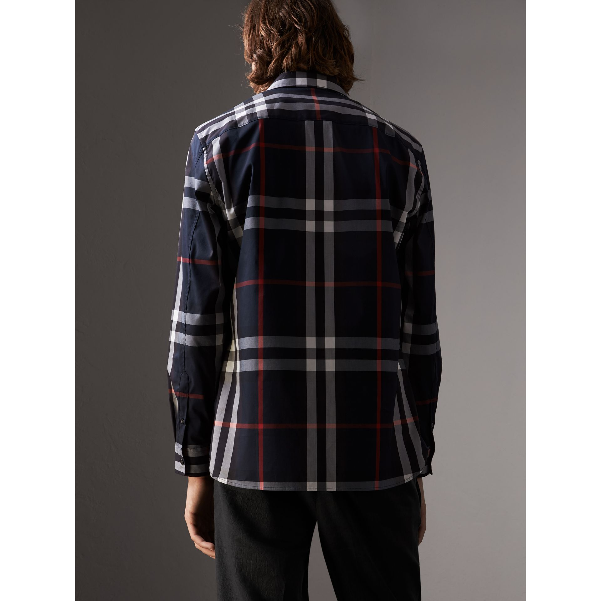 Check Stretch Cotton Shirt in Navy - Men | Burberry - gallery image 3