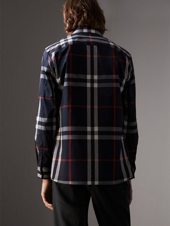 Check Stretch Cotton Shirt in Navy - Men | Burberry Australia - cell image 2