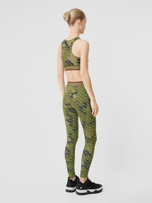 Monogram Print Stretch Jersey Bra Top in Khaki Green - Women | Burberry - cell image 2