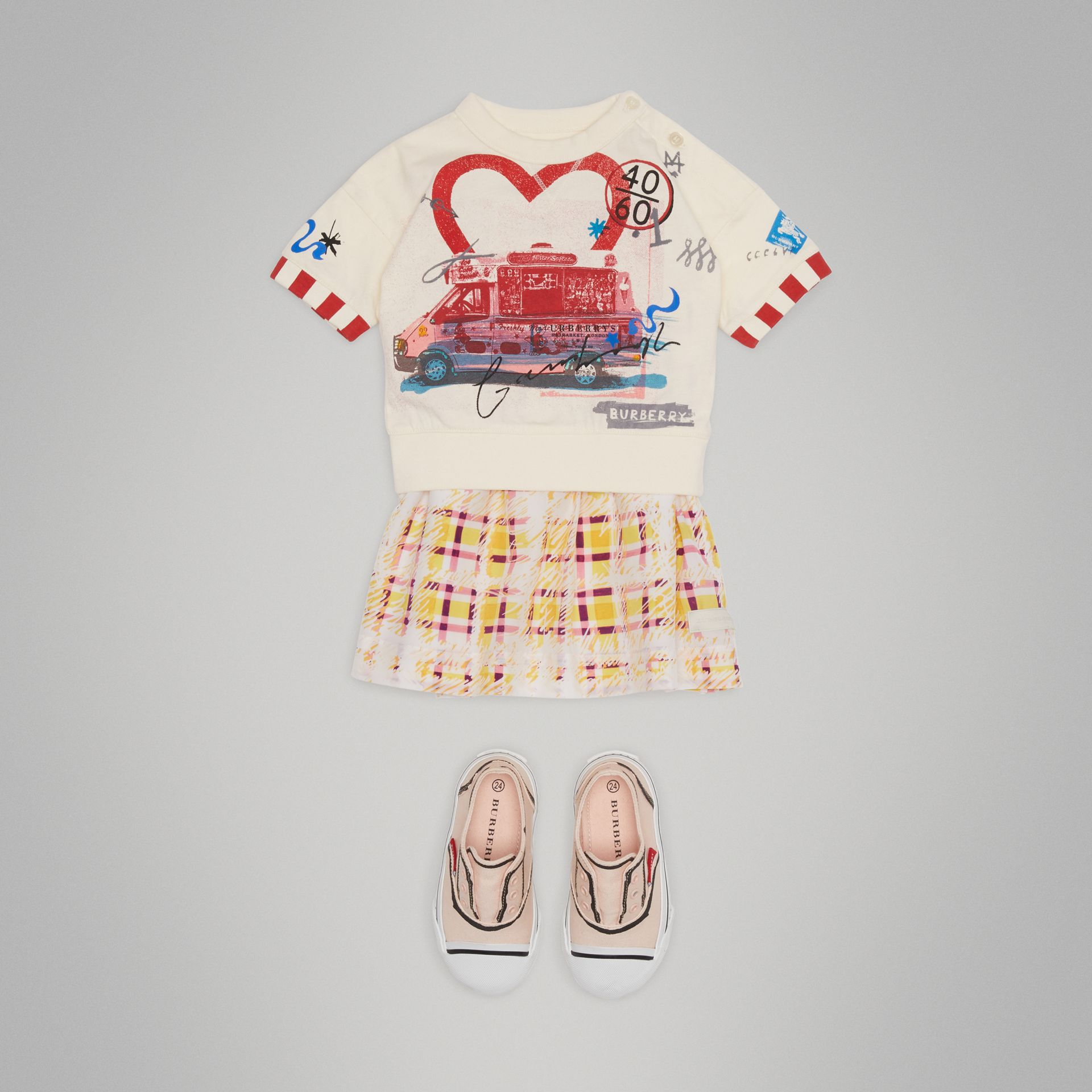 Postcard Motif Cotton T-shirt in Chalk White - Children | Burberry - gallery image 2