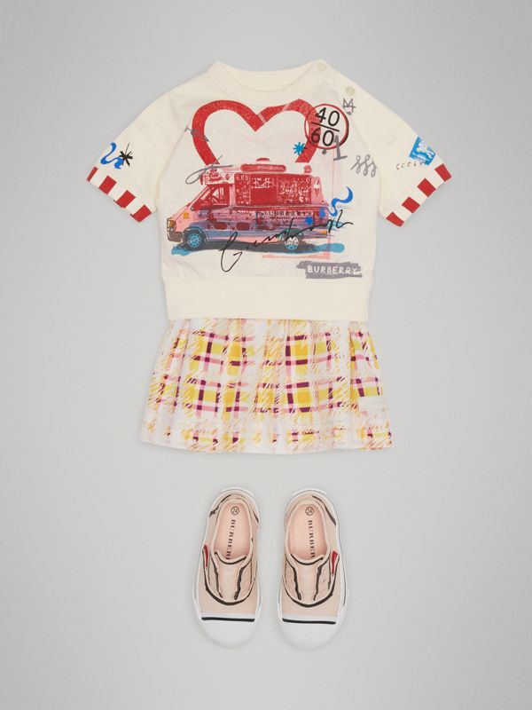 Postcard Motif Cotton T-shirt in Chalk White - Children | Burberry - cell image 2