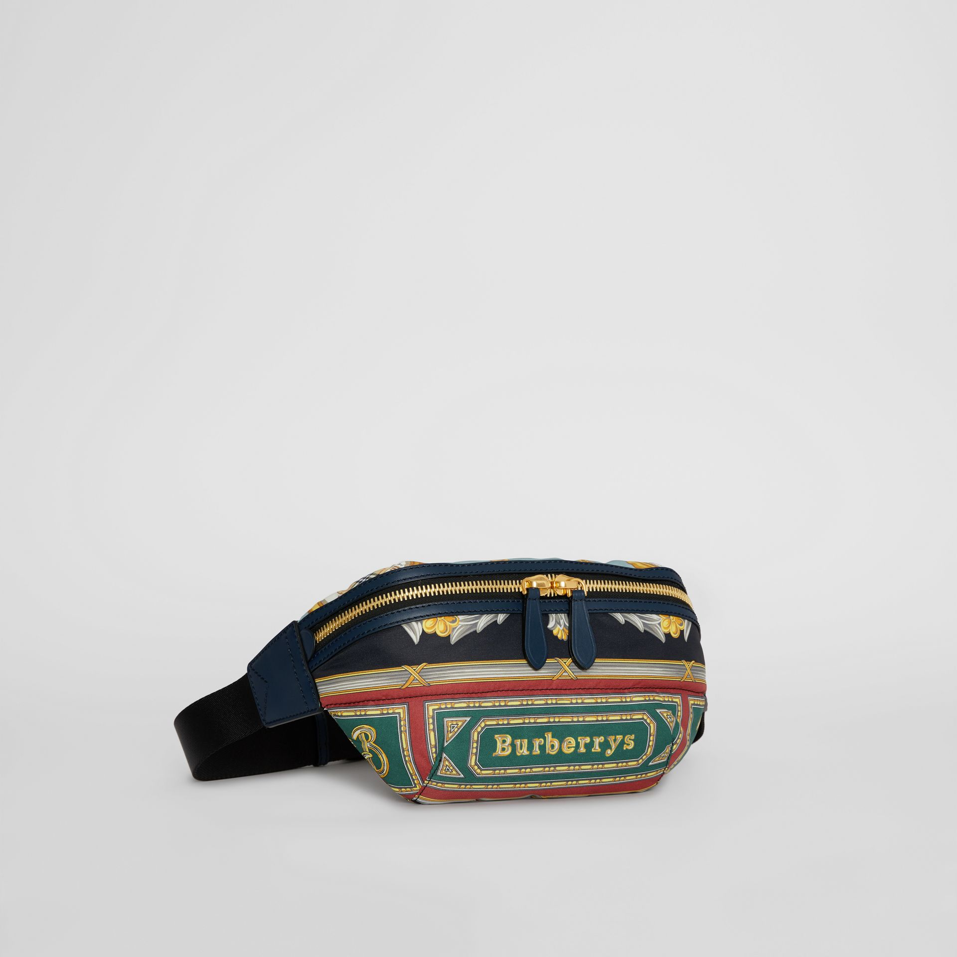 Medium Archive Scarf Print Bum Bag in Forest Green | Burberry - gallery image 6
