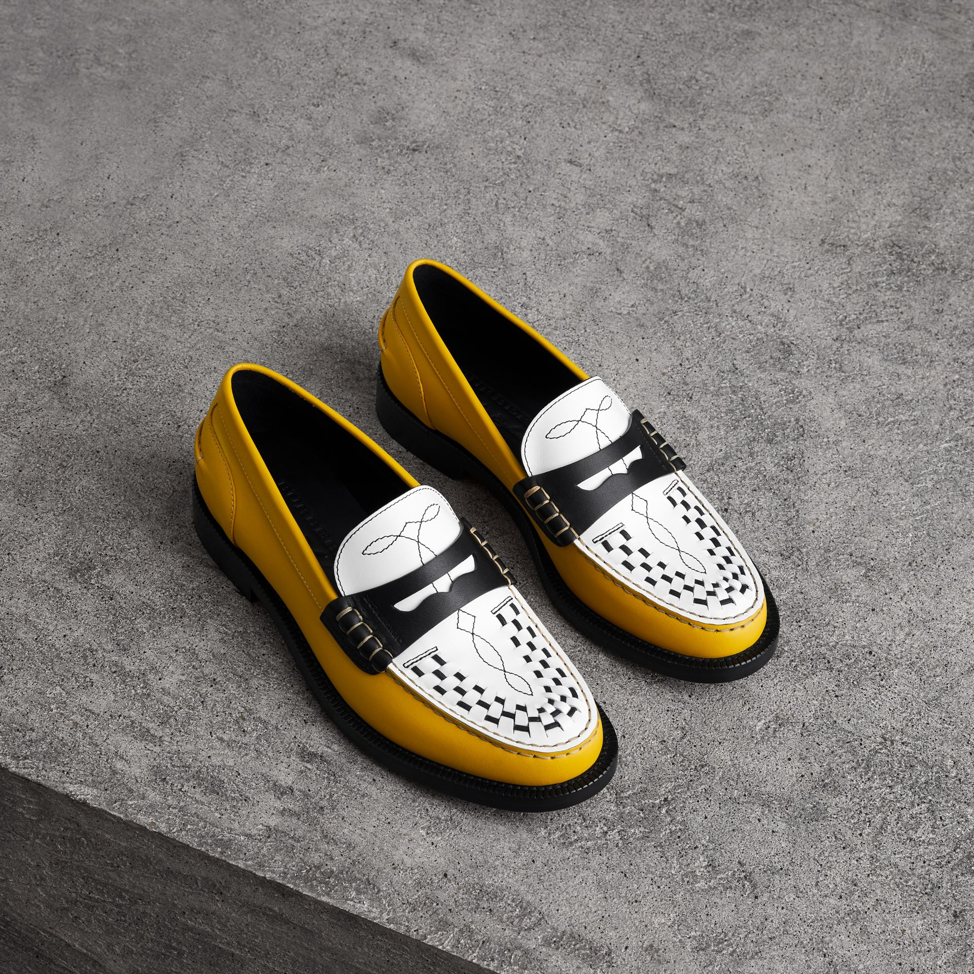 Woven-toe Leather Loafers in Saffron Yellow - Women | Burberry - gallery image 0
