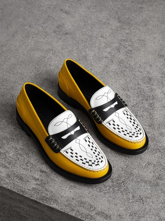 Woven-toe Leather Loafers in Saffron Yellow