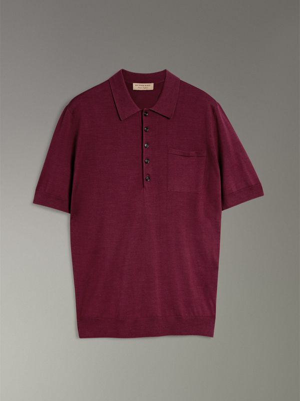 Knitted Silk Polo Shirt in Dark Crimson - Men | Burberry Australia - cell image 3