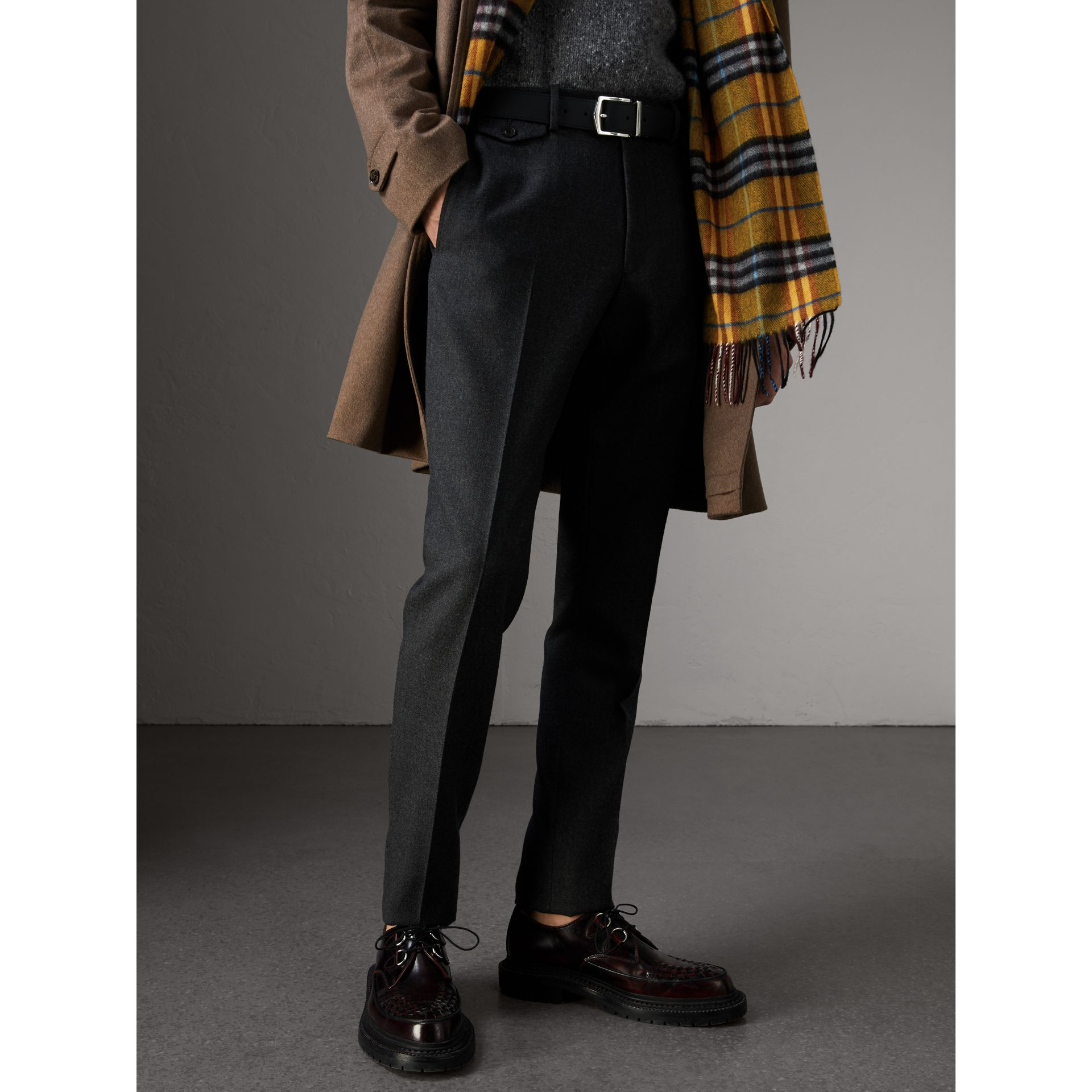 Reversible London Check and Leather Belt in Black - Men | Burberry - gallery image 4
