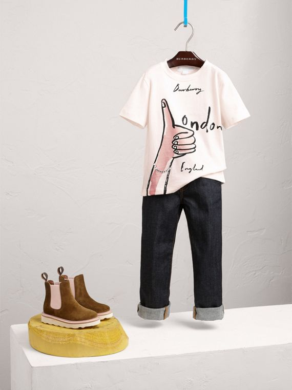 T-shirt in cotone con stampa London Icons e gemme ornamentali (Bianco Naturale)